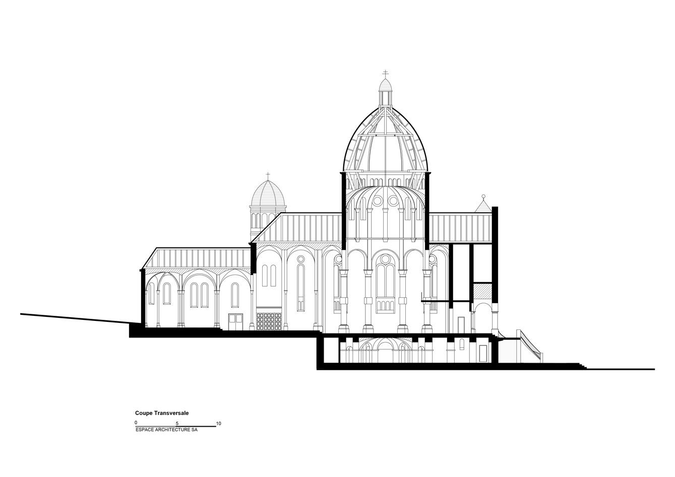 Basilique Notre Dame de Bon Secours Coupe transversale